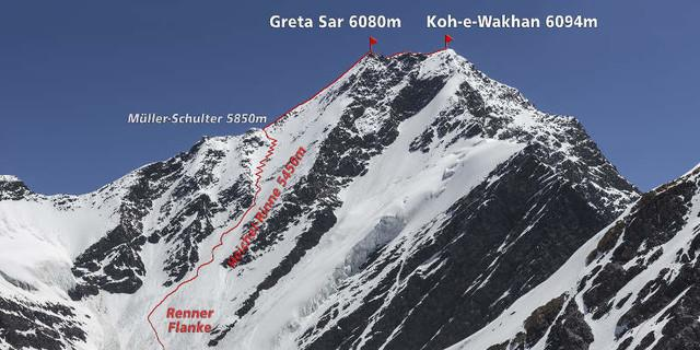 Koh-e-Wakhan Erstbesteigung Route klein