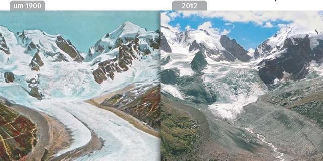 Tschierva- und Roseggletscher um 1900 und 2012, Engadin, Schweiz. Fotos: Sammlung Gesellschaft für ökologische Forschung