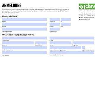 Anmeldeformular JDAV Jugendleiter*innen-Schulungen