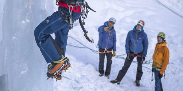 Fußtechnik üben? Aber hallo! Und mit nur einem Eisgerät wird die Beinarbeit gleich noch wichtiger... Foto: DAV / Silvan Metz