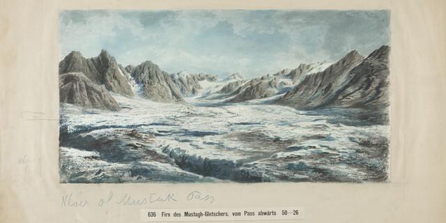 Adolph Schlagintweit. Firn des Mustagh-Gletschers (Karakorum), 22.8.1865. Aquarell, Bleistift und Feder