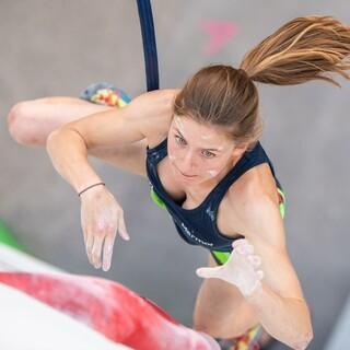 Voll fokussiert: Sandra Hopfensitz bei der letzten Deutschen Meisterschaft Speed. Foto: DAV/Thomas Schermer