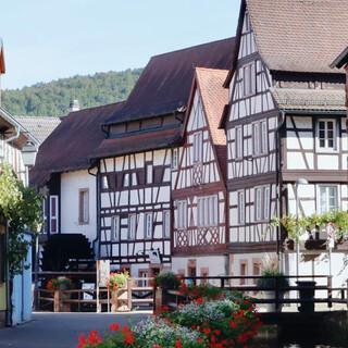 Fachwerkhäuser zieren den Weg entlang der Queich in Annweiler. Foto: Günter Kromer
