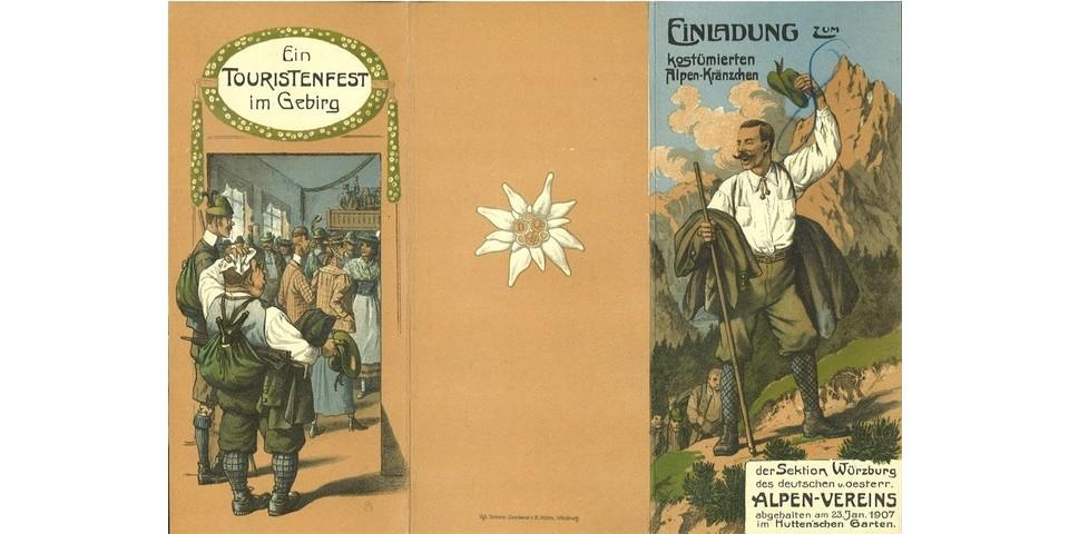 Einladung zum costümierten Alpenkränzchen der Sektion Würzburg, 1907. Archiv des DAV, München