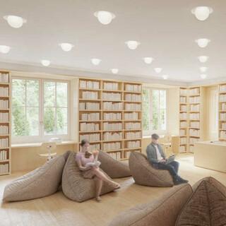 Die Bibliothek mit großen Freihandbeständen. Foto: Feil Architekten