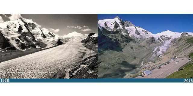 Bildvergleich der Gletscherstände: Pasterze um 1938 und 2016. Quelle: GöF