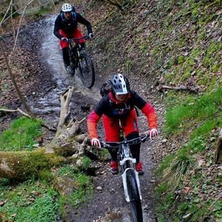 Zwei Mountainbiker*innen bei der Abfahrt auf einem Trail. Foto: Antonia Buckenlei