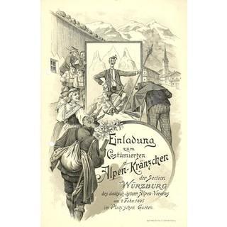 Einladung zum costümierten Alpenkränzchen der Sektion Würzburg, 1894. Archiv des DAV, München