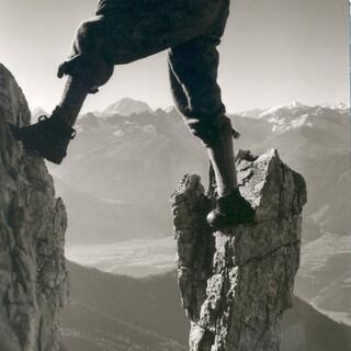 Foto Wenzel Fischer. Bergsteiger im Karwendel, um 1960, Archiv DAV