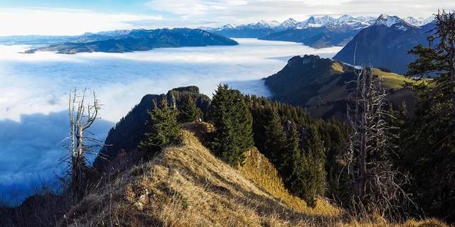 Spätherbst-Voralpenzauber: Wenn der Thunersee Nebelmeer spielt, wird der Grat am Nüschlete zum besonderen Erlebnis. Foto: Bernd Jung