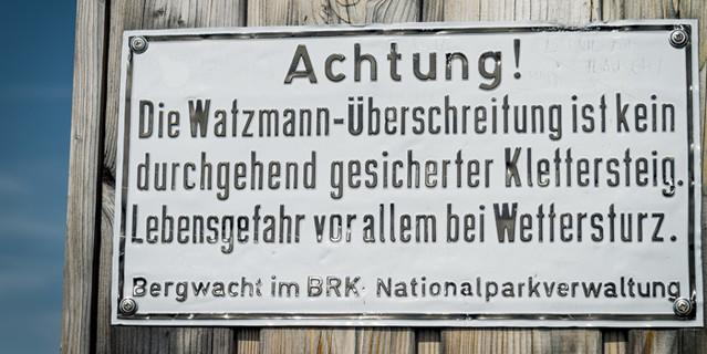 Warnhinweis am Hocheck, Foto: Hans Herbig