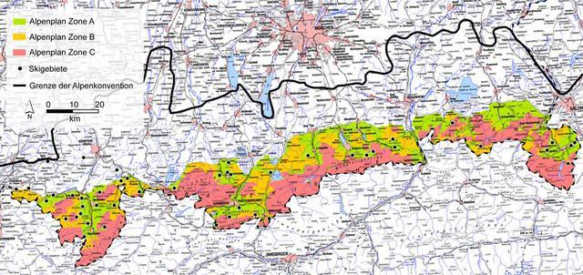 Der Bayerische Alpenplan ist ein erfolgreiches Konzept der alpinen Raumplanung um unerschlossene Räume zu erhalten (Zone C)