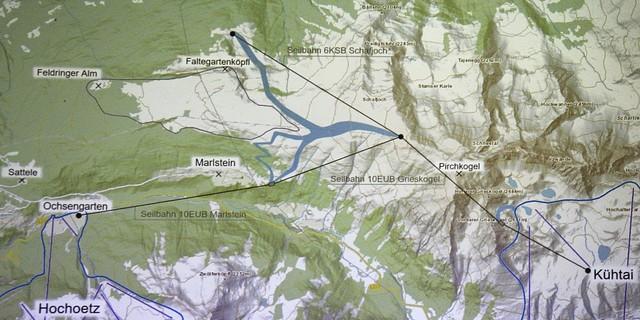 Geplante Skigebietsverbindung zwischen Hochoetz und Kühtai von Ochsenkarten über Feldringer Böden, Schafjoch und Pirchkogel nach Kühtai. Foto: Österreichischer Alpenverein