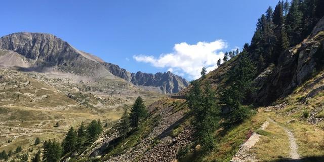 Tag 12: Ein verfallener Karrenweg zieht hinauf zum Col Lombarde, der Grenze in den Seealpen zu Frankreich.