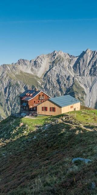 Die Kaltenberghütte, das erste Ziel der Verwallrunde, Foto: Jürgen Gassner