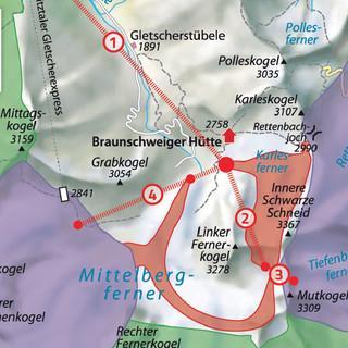 Übersicht über das Erschließungsvorhaben auf den Gletscherflächen zwischen Pitztaler Gletscherskigebiet und dem Skigebiet Sölden/Rettenbachferner.