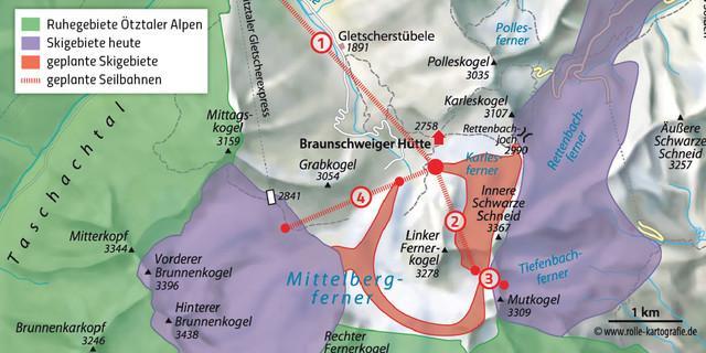 Pitztal Karte.Skierschließungen Zusammenschluss Pitztaler Gletscher Und Sölden