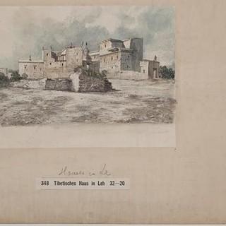 Tibetische Häuser in Leh - Hermann Schlagintweit. Tibetan Houses in Leh, in the Northern Part of the Town&nbsp&#x3B;(Leh, Jammu und Kashmir/Indien&#x3B; GR 348), 2. Oktober 1856. Aquarell über Bleistift auf&nbsp&#x3B;Papier. Alpines Museum des Deutschen Alpenvereins, München.&nbsp&#x3B;Schenkung der Familie&nbsp&#x3B;Schlagintweit.