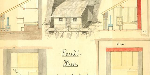 Plan der Albert-Kaindl-Hütte, 1881