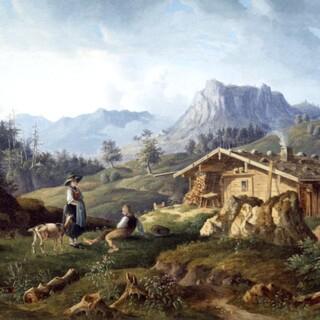 Alm in den Bayerischen Alpen, 1830/40. Sammlung DAV