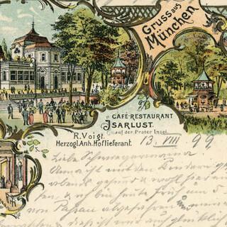 Café-Restaurant Isarlust Werbepostkarte von 1899. Foto: Archiv des DAV, München