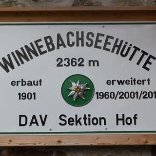 Hüttenschild der Winnebachseehütte, Foto: DAV/Oliver Guse