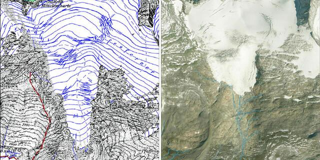 Durch Rückgang des Östlichen Nofesferner entstandene Seen und Bachsysteme im Gletschervorfeld.