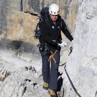 Klettersteiggehen in der Brenta, Dolomiten, Italien