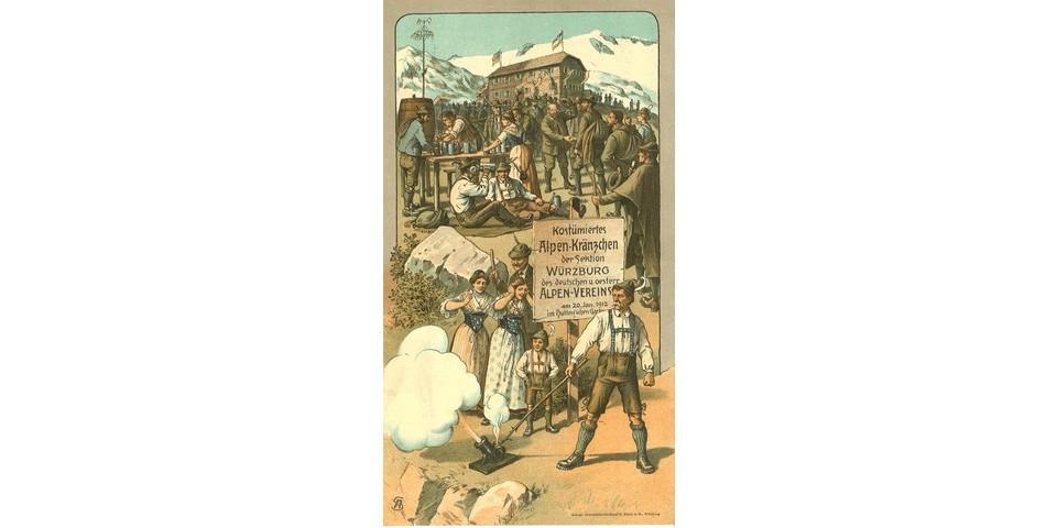 Einladung zum costümierten Alpenkränzchen der Sektion Würzburg, 1912. Archiv des DAV, München