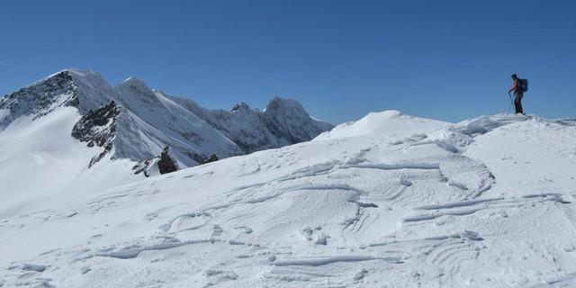Skirunde Großvenediger: Am Mittleren Maurerkeeskopf, Blick auf die Simonyspitzen. Foto: Stefan Herbke