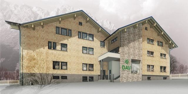 """Zeichnung des """"neuen"""" DAV-Hauses, Bild: DAV"""