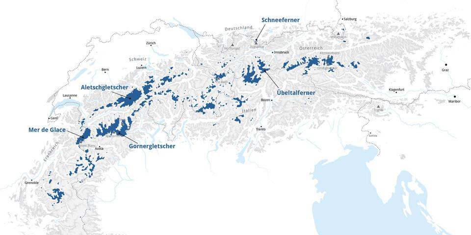 Übersichtskarte Gletscher der Alpen - Grafik: Marmota Maps