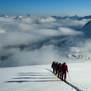 Morgendlicher Aufstieg, Isla Pers, Bernina, Schweiz