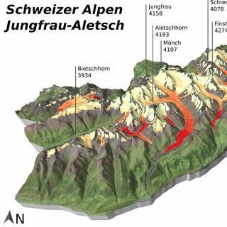 Gletscherrückgang in den Berner Alpen: Höhenveränderung in Metern pro Jahr. Quelle: Christian Sommer, Hintergrund: Landsat 8 & SRTM U.S. Geological Survey, www.usgs.gov