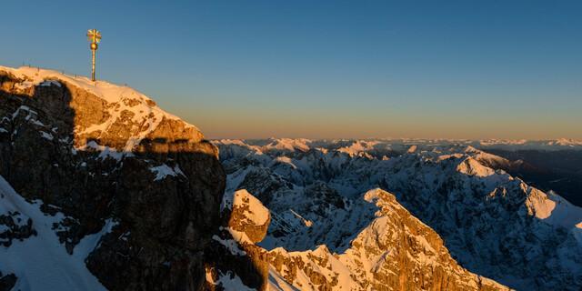 Der höchste Gipfel Deutschlands im Winter, die Zugspitze mit 2962 Metern, Foto: Wolfgang Ehn
