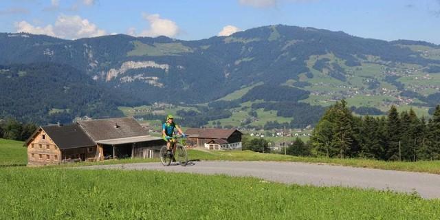 Etappe 2: Auffahrt von Andelsbuch Richtung Schetteregg. Im Hintergrund der Bergkamm zwischen Hochälpele und Brüggelekopf.