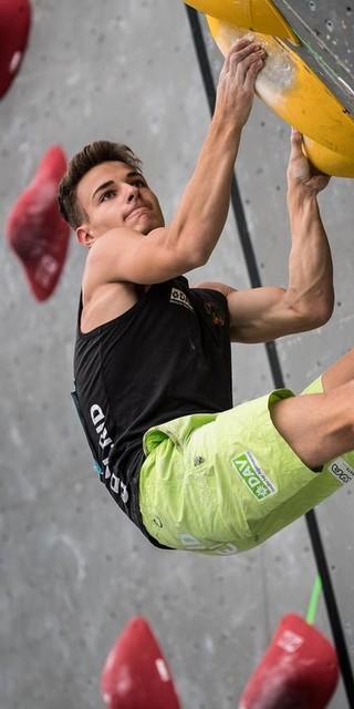 Yannick Flohé beim Boulderweltcup 2017 Foto: DAV/Nils Nöll