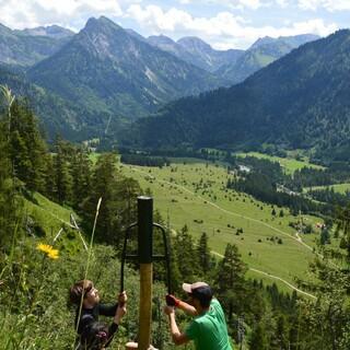 Bau eines Zaunes als Verbissschutz, Hinterstein. Foto: Johannes Branke