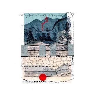 Julius Kerscher, Scheffauer-Nordwand, Ostlerführe (mit abstrakt-durchdrungener Kaindlhüttn), 2012