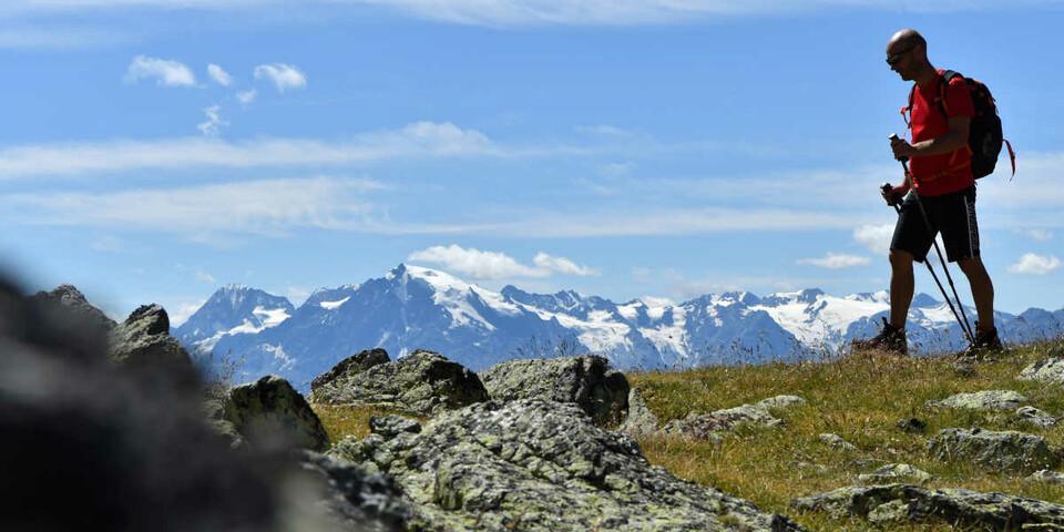 Am Ostrücken des Großhorns genießt man den Blick auf die Ortlergruppe. Foto: Stefan Herbke