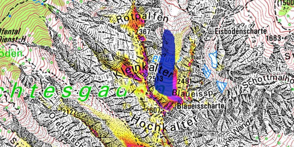 Permafrost Hochkalter und Blaueis (Quelle: PermaNet; LfU)