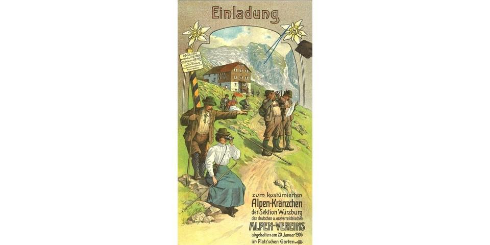 Einladung zum costümierten Alpenkränzchen der Sektion Würzburg, 1906. Archiv des DAV, München