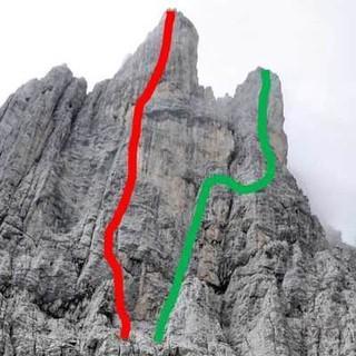 Routen durch die Predigtstuhl-Westwand, Foto: Christian Rauch