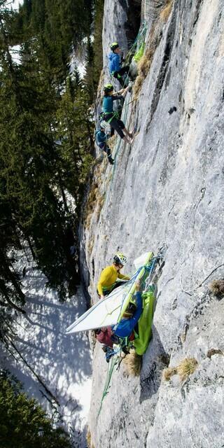 Zelten in der Senkrechten. Foto: Dörte Pietron