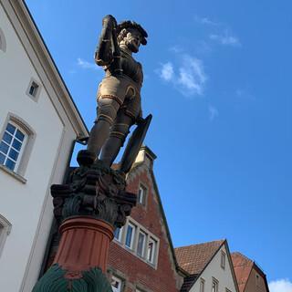 Versteckte Symbolik – der Schildhalter am Marktbrunnen in Besigheim streckt seinen Hintern gen... Foto: Joachim Chwasczca
