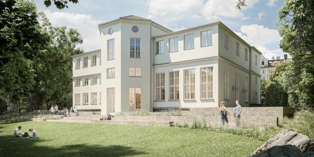 Die Terassenanlagen nach historischem Vorbild vermitteln zum Garten und laden zum Sitzen ein. Foto:Feil Architekten.