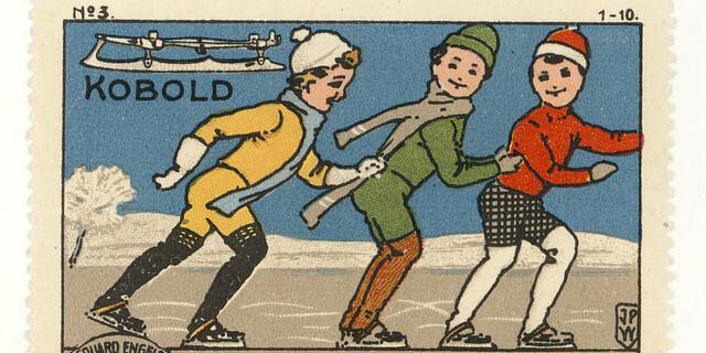 Sport Serie Engels: Schlittschuhe. Reklamemarke, entworfen von Johann Peter Werth, um 1910