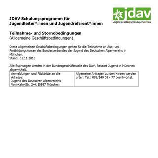 Teilnahme-, Stornobedingungen Schulungen JDAV ab 2019