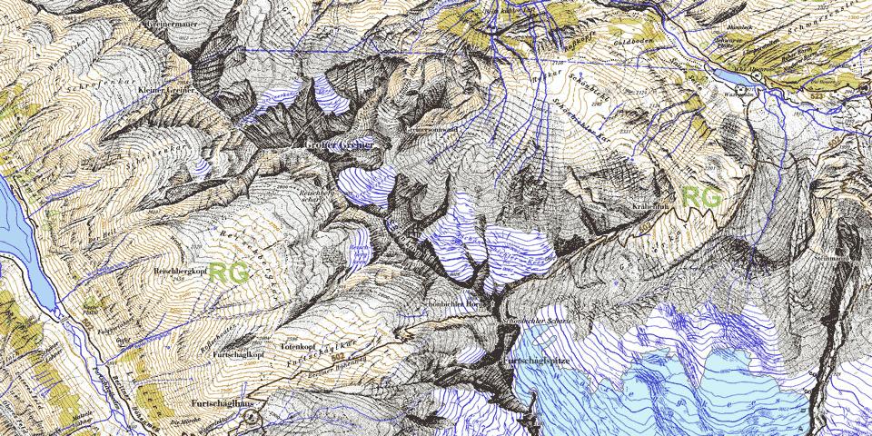 Kartenausschnitt 2006 – Gletscherstand 2018 in hellblau