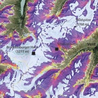 Permafrostverteilung in den Ötztaler Alpen (Quelle: PermaNet)